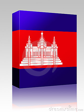 Cambodia flag box package