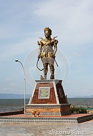 Cambodia King Statue at Kep Crab Market Editorial Image