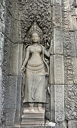 Cambodia. Siem Reap. Angkor Tom. Stone dancer