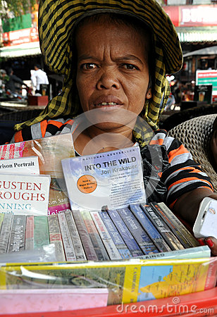 Cambodian Book seller Editorial Stock Photo