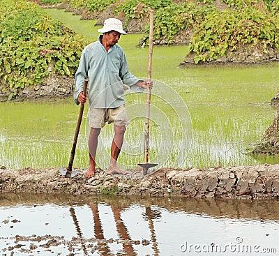 Cambodian Farmer Editorial Photography