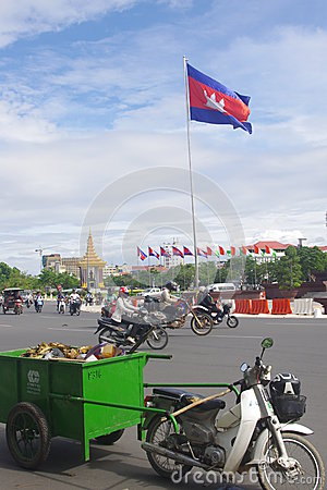Cambodian flag in Phnom Penh Editorial Image