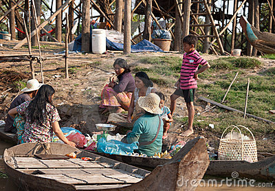 Cambodian floating village Editorial Stock Photo