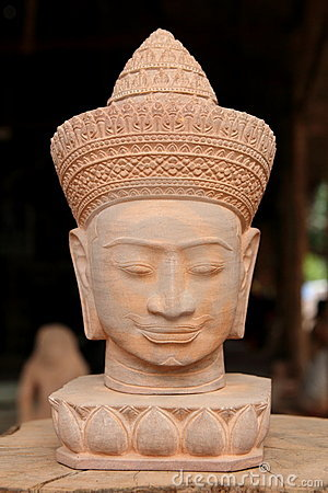 Free Cambodian Head Statue Royalty Free Stock Photography - 17425777