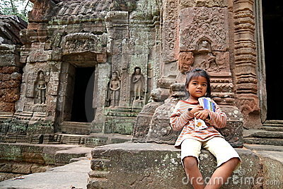 Cambodian Kid at Angkor Wat Editorial Stock Image