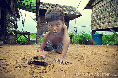 Cambodian kid playing Editorial Image