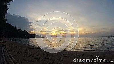 Cambodian romantic Rabbit island sunset 4K. Cambodian romantic Rabbit island sunset near Kep hi res 4K stock footage