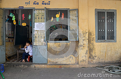 Cambodian Schoolhouse Editorial Image