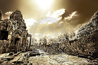 Cambodian temple ruins in monochrome