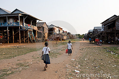 Cambodian village Editorial Stock Image