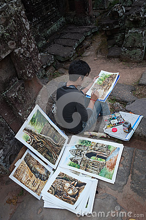 Cambodian young painter at the temple Banteay Kdei temple.Angkor Editorial Photography