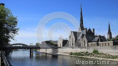 Cambridge, Kanada scena Uroczystą rzeką, timelapse 4K zbiory wideo