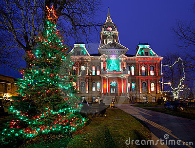 Cambridge Ohio Christmas Lighting Editorial Stock Image