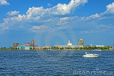 Camden Waterfront and Delaware River in New Jersey
