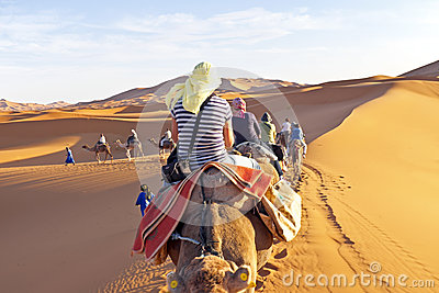 Camel caravan going through the sand dunes in the Sahara Desert, Editorial Photography