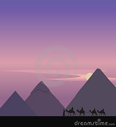 Camel Caravan and the Pyramids