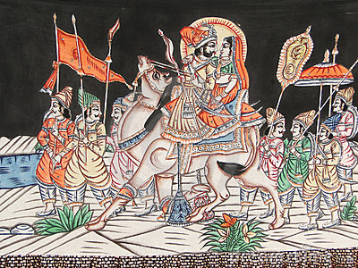 A camel carries a Rajput prince and his wife,