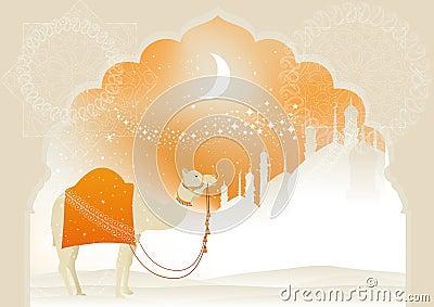 Camel through desert