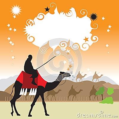 Camel in desert, frame