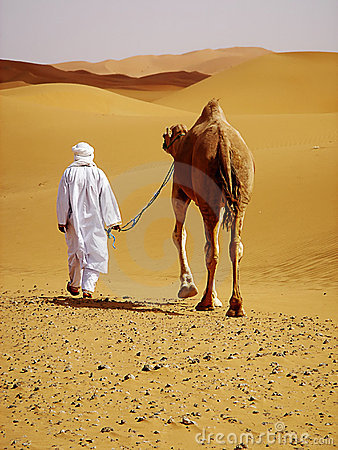 Camel guide with camel in the desert