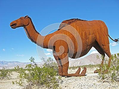 Camel on Knees - Metal Sculpture