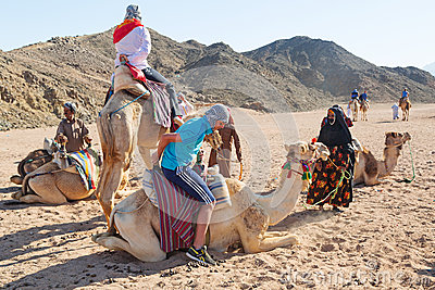 Camel ride on the desert in Egypt Editorial Image