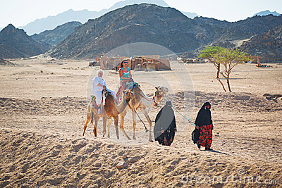 Camel ride on the desert in Egypt Editorial Photography