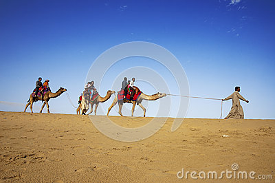 Camel riding, Thar Desert, India Editorial Image