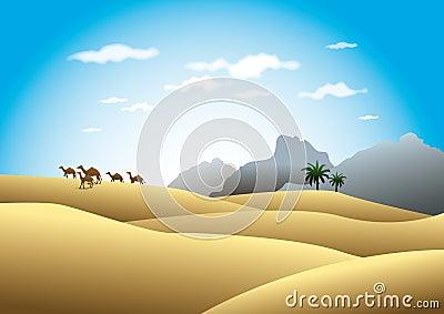 Camels in desert landscape
