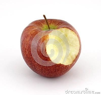 Cameo apple that has been bitten