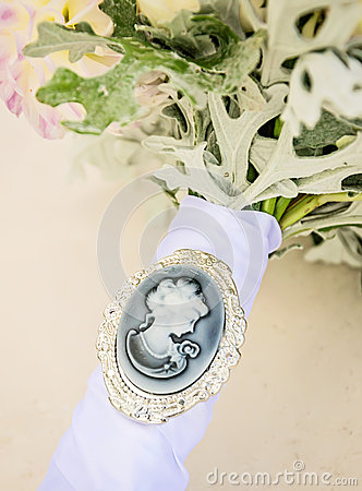 Free Cameo On Bridal Bouquet Royalty Free Stock Image - 51207296