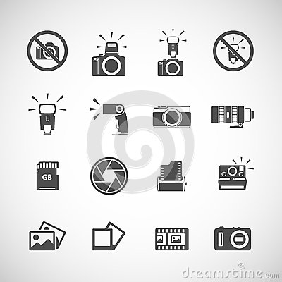 Free Camera And Flash Icon Set, Vector Eps10 Stock Photography - 42904552