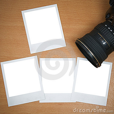 Camera with blank polaroid frames
