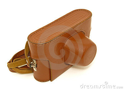 Camera in Brown Leather Case