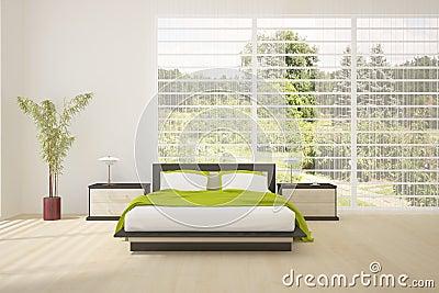 ... da Diritti: Camera da letto colorata interna con mobilia moderna