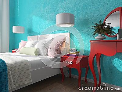 Parete del turchese nella camera da letto illustrazione di stock ...