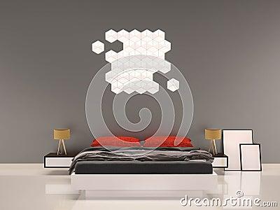 http://thumbs.dreamstime.com/x/camera-da-letto-con-parete-interno-grigio-del-cuscino-rosso-63918634.jpg