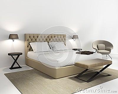 Camera da letto di lusso bianca con la poltrona porpora fotografia ...