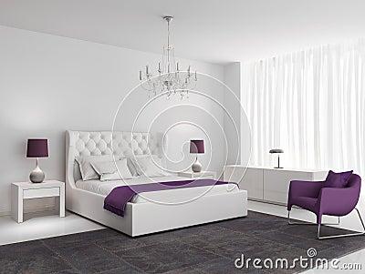 Camera da letto di lusso bianca con la poltrona porpora for Raccordo casa contemporanea