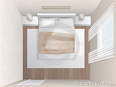 Camera da letto di vista superiore con le pareti beige ...