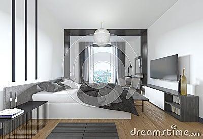 Camera da letto lussuosa e moderna nello stile - Camera da letto stile contemporaneo ...