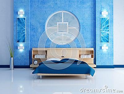 Camera da letto moderna blu immagini stock immagine - La finestra della camera da letto ...