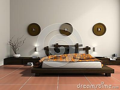 Camera da letto moderna nello stile etnico fotografia for Mobilia arredamento 3d
