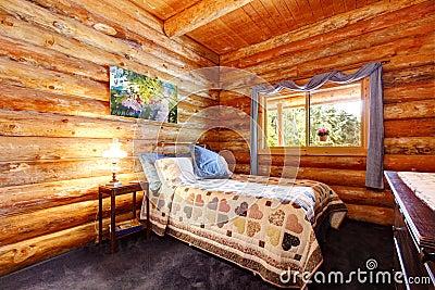 Camera da letto rustica della cabina di libro macchina con le tende ...
