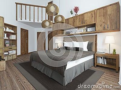 Camera da letto stile sottotetto con mobilia di legno e le pareti ...