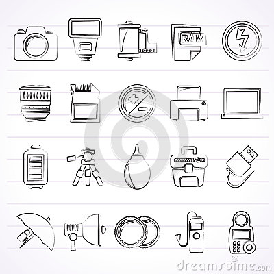 Free Camera Equipment And Photography Icons Royalty Free Stock Photos - 65574298