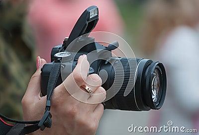 Camera in a female hand