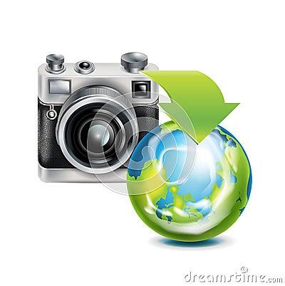 Camera icon and earth globe isolated