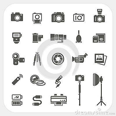 Free Camera Icons And Camera Accessories Icons Set Stock Photos - 38676403