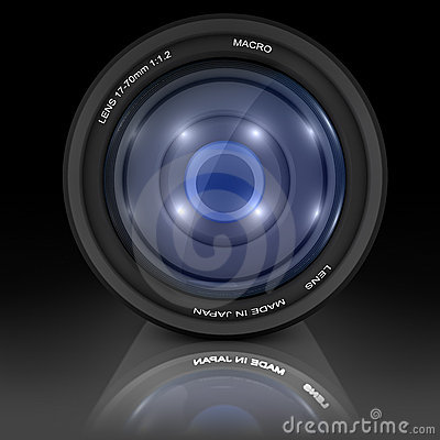 Camera Lens on black background